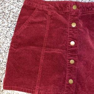 corduroy burgundy skirt